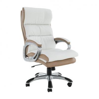 Műbőr irodai szék, fehér-bézs - SIOUX